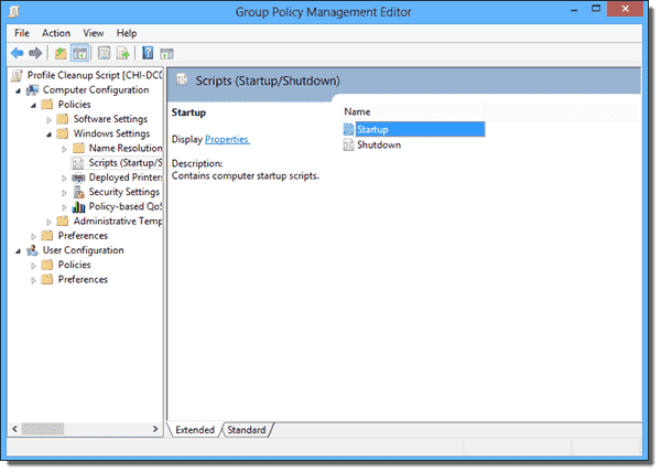 Startup scripts in Group Policy