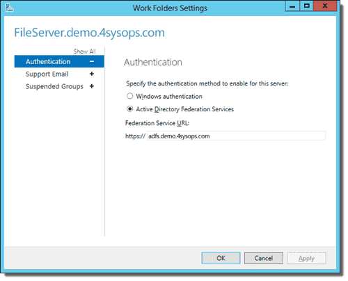 Work Folders Authentication Settings