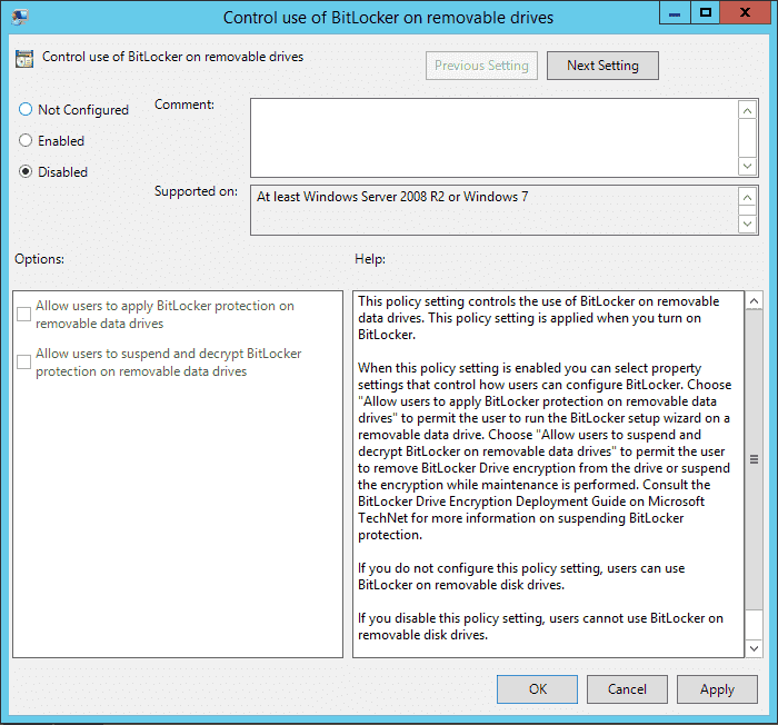 How to disable BitLocker with Group Policy – 4sysops