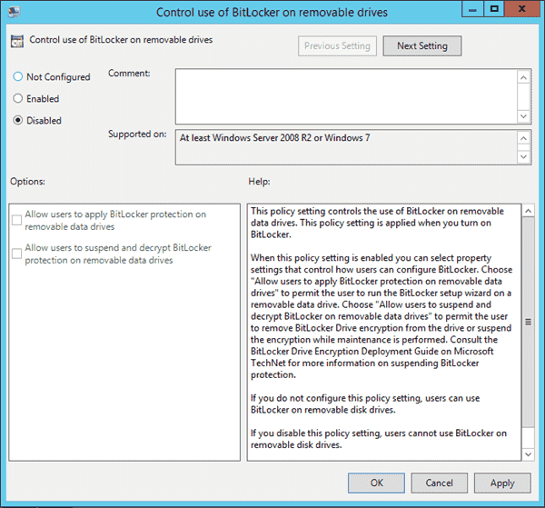 Disable BitLocker on removable drives