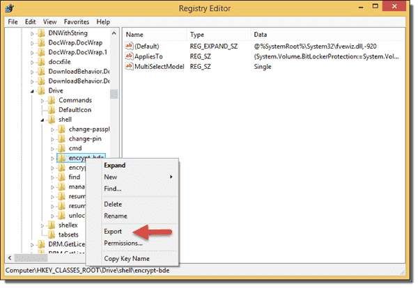 Export Registry key