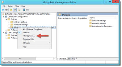 Group Policy Editor filter
