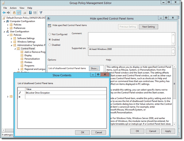 Hide BitLocker Drive Encryption from Control Panel with Group Policy