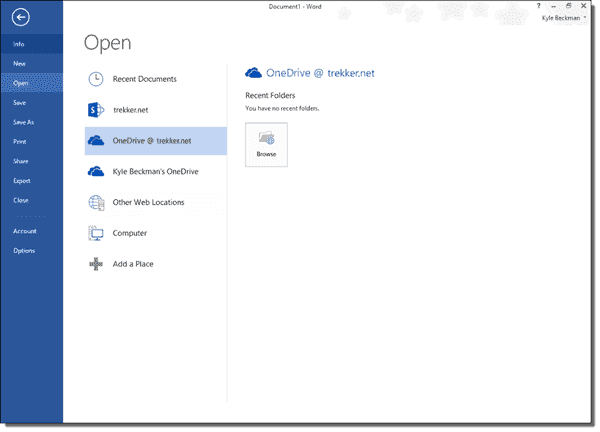 OneDrive for Business in Word