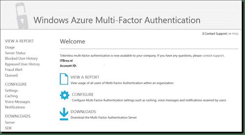 Windows Azure Multi-Factor Authentication Portal