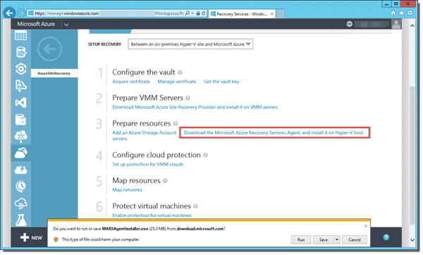 Azure Site Recovery Services Agent for Hyper-V Server