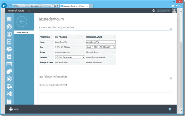 Azure Site Recovery protected VM properties