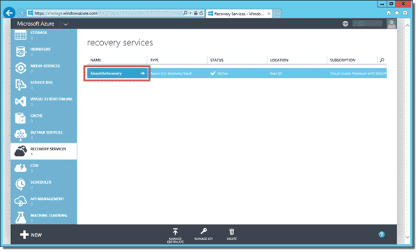 Azure Site Recovery vault in the Azure Management Portal