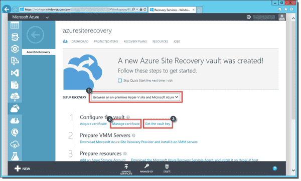 Configuring the Azure Site Recovery vault