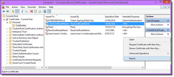 Exporting client certificates so they can be imported on different computers is done in the Certificate Management MMC