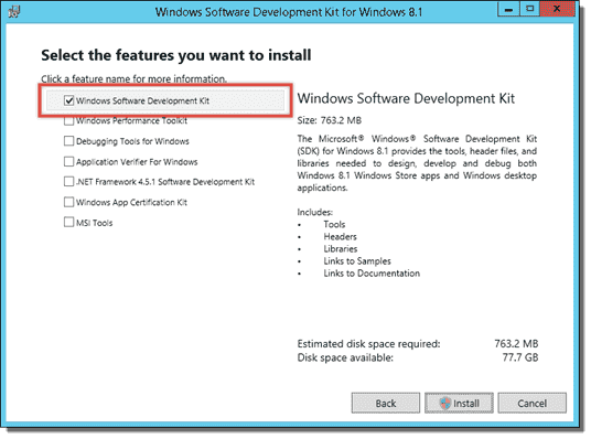 Installing Windows Software Development Kit from the Windows SDK