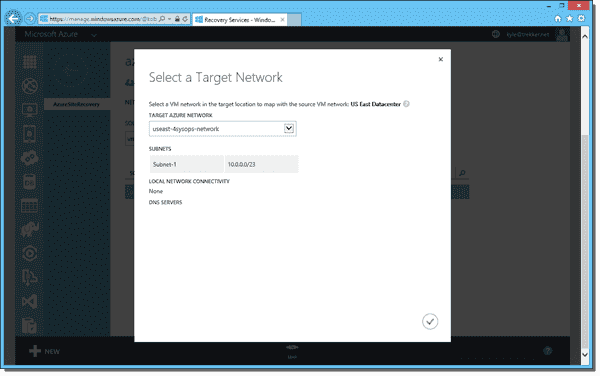 Selecting a target network in Azure