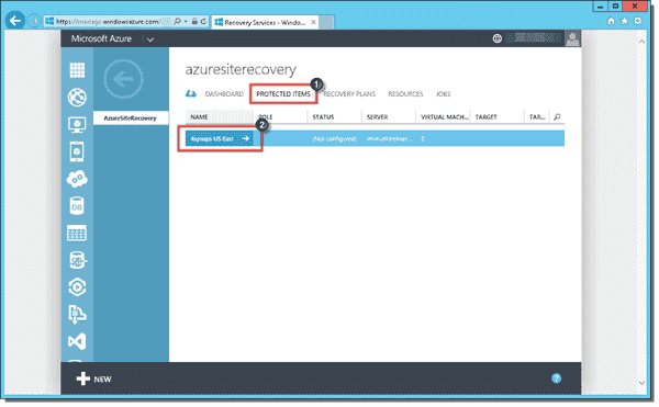 Selecting storage account for Azure Site Recovery protected items