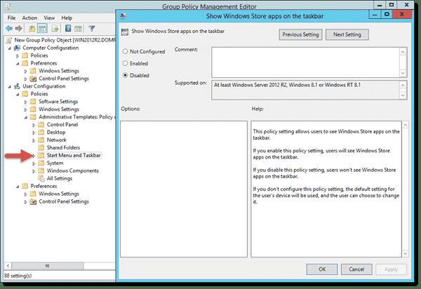 Show Windows Store apps on the taskbar