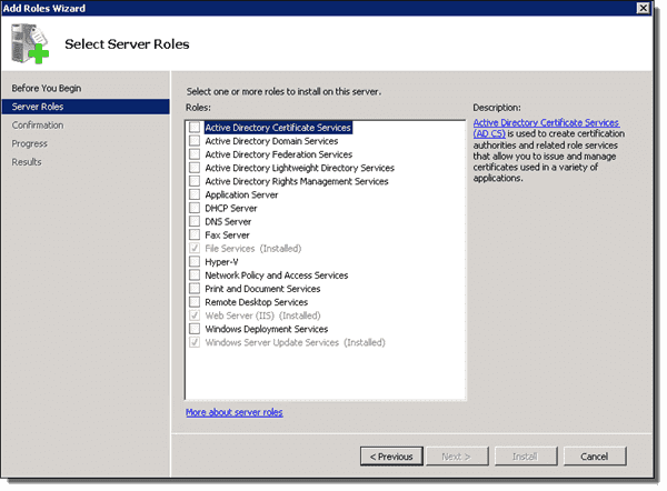 The WSUS role installed on our SCCM primary server