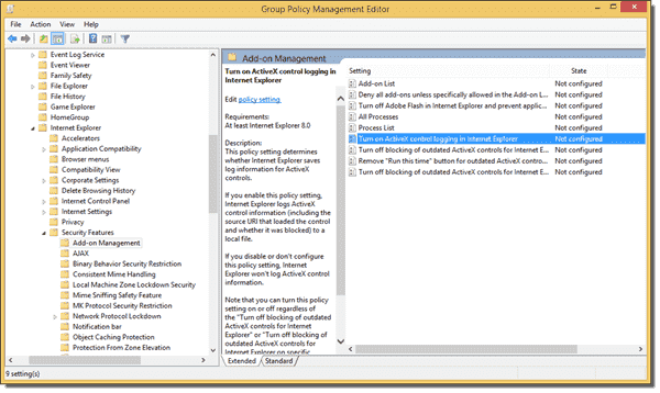 Updated Internet Explorer ActiveX blocking policies in the Group Policy Management Console