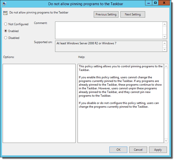 Configure pinned programs on the Windows Taskbar with Group