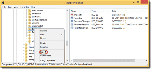 Export Registry key to REG file