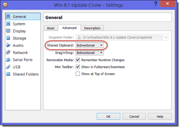 Shared Clipboard in VM settings