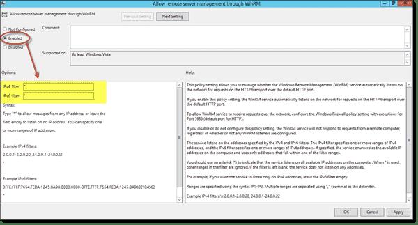 Allow remote server management through WinRM