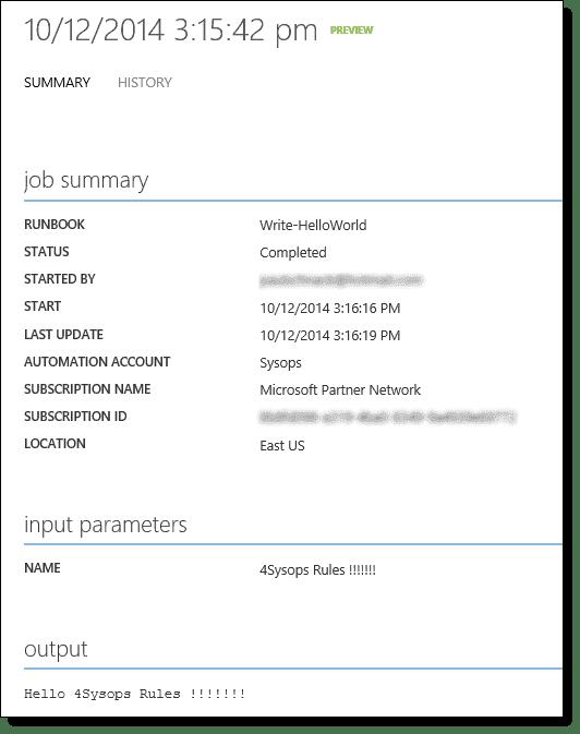 Automation job history tab output