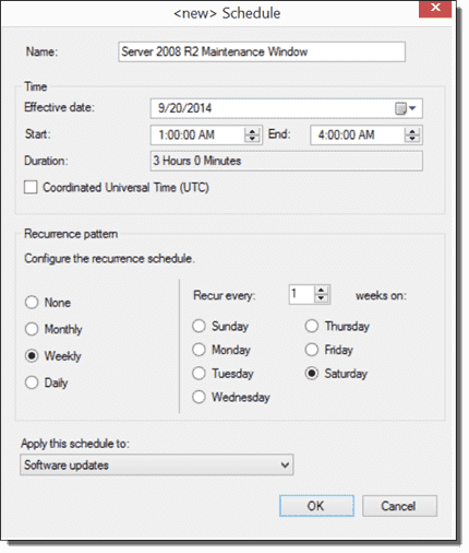 Creating a maintenance window for 2008 R2 servers.