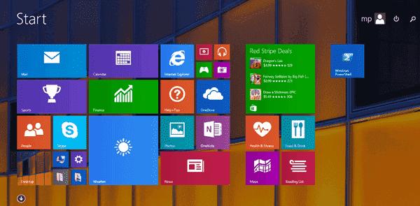 Desktop background on the Start screen