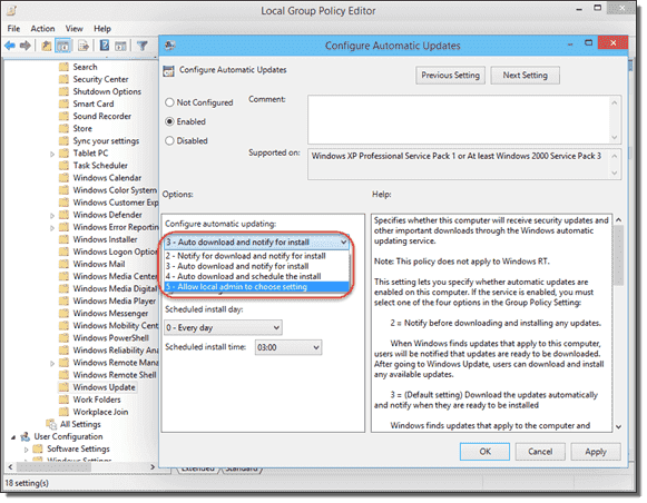 Group Policy - Configure Automatic Updates