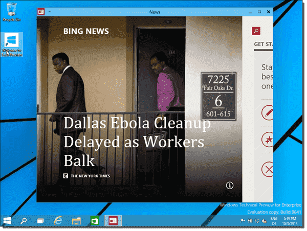 Modern app in desktop window