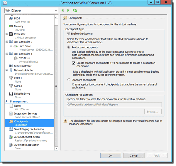 Production Checkpoint Settings for a VM
