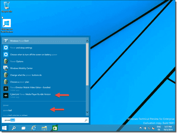 Search in the Start menu contains links to apps in the Store and Bing search results