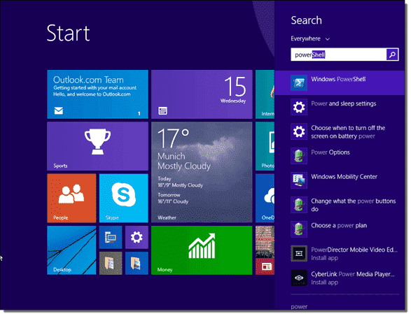 Search on the Start screen