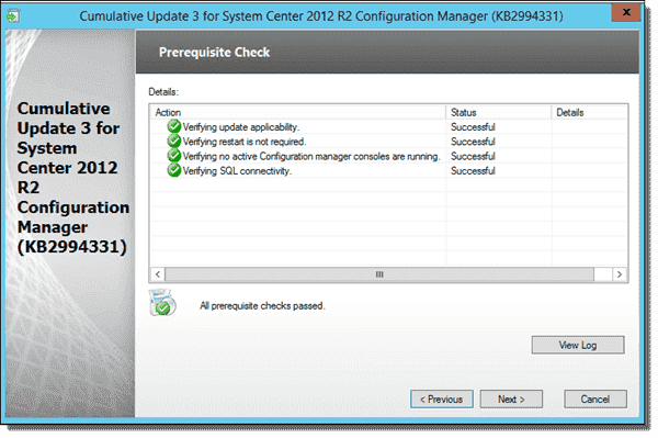 Server that is ready to install CU3 for SCCM 2012 R2