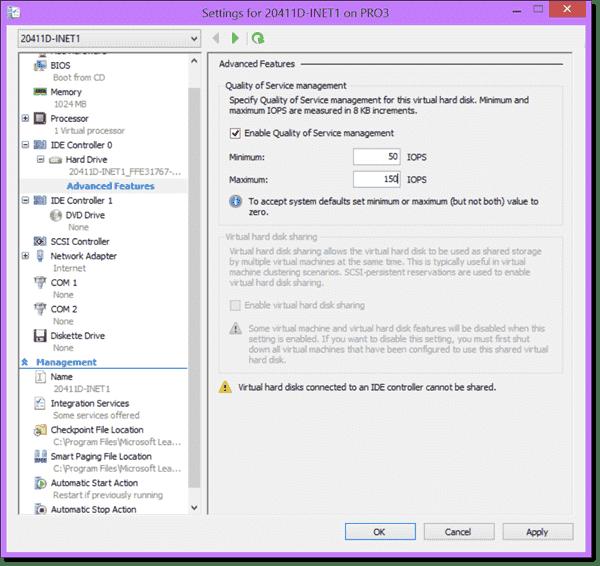 Setting Storage QoS in Hyper-V 2012 R2
