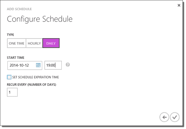 Setting up a Schedule