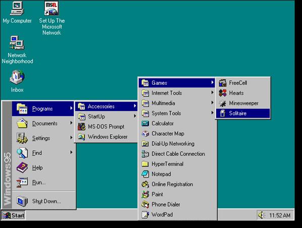 Start menu – few changes since Windows 95