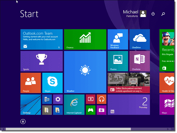 The Start screen in Windows 10