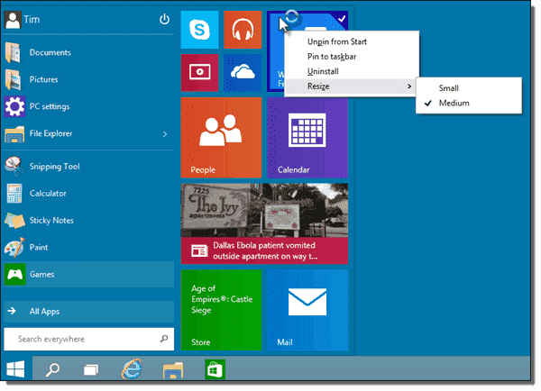 We have limited control over Live Tiles in the new Start menu