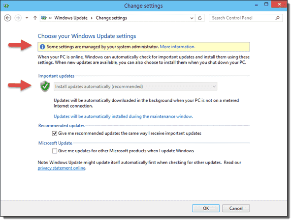 Windows Update - Some settings are managed by your system administrators