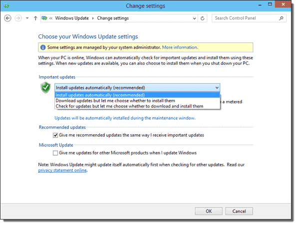 Windows Update settings local admins can change