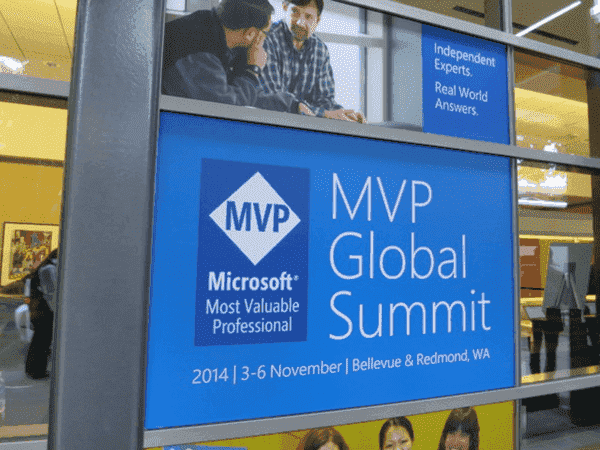 A welcome sign for the MVP Global Summit
