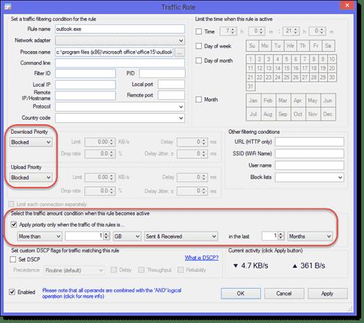Limit data usage of a Windows application
