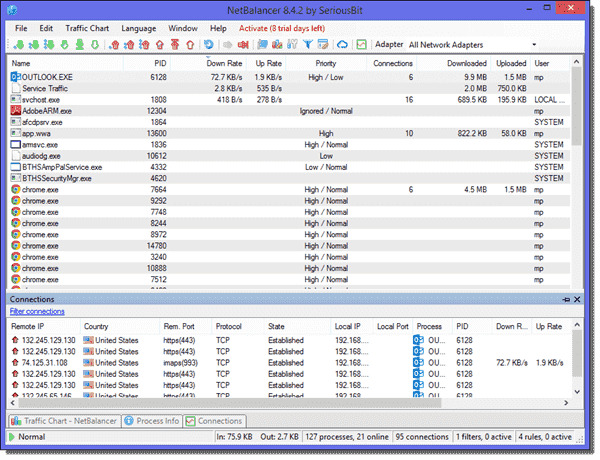 Monitor network traffic with NetBalancer