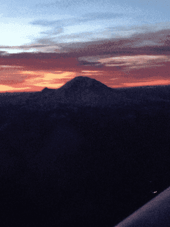 Mt. Rainier before sunset on the flight home.