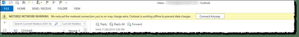 Outlook metered network warning