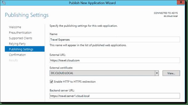 Publishing an internal application URL settings