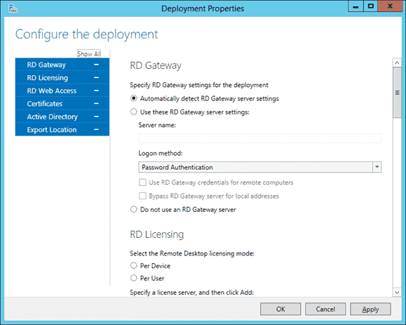 Settings for Remote Desktop Virtualization Host