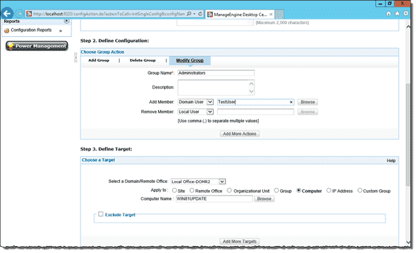 Add user to the local Administrator group with Desktop Central