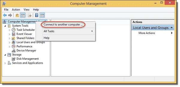 Computer Management - Connect to another computer