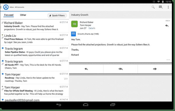 Focused inbox - tablet version